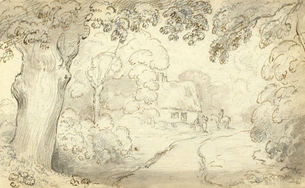 Circle of John Varley, Thatched Cottage, Suffolk -Early 19th-century ink drawing