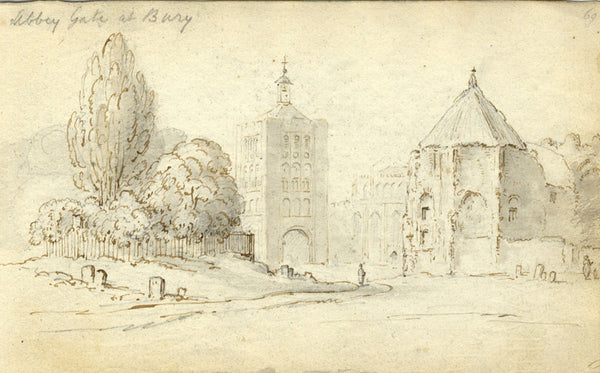 Circle of John Varley, Abbey Gate Bury St Edmunds Early 19th-century ink drawing