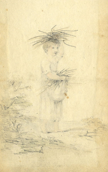 Circle of John Varley, Child Collecting Firewood - Early 19th-century drawing