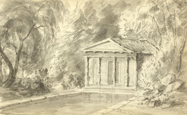 Circle of John Varley, Grecian Building - Early 19th-century ink drawing