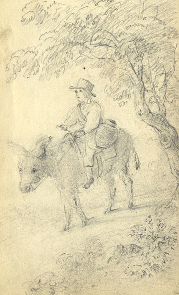 Circle of John Varley, Boy on a Donkey - Early 19th-century graphite drawing