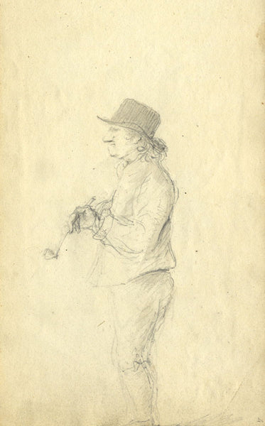 Circle of John Varley , Man with Pipe - Early 19th-century graphite drawing