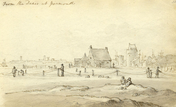 Circle of John Varley , Yarmouth, Norfolk - Early 19th-century ink drawing