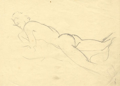 Sidney Horne Shepherd, Reclining Nude - Mid-20th-century graphite drawing