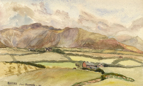 E.L. Colebrooke, Red Screes from Seascale, Cumbria - 1899 watercolour painting