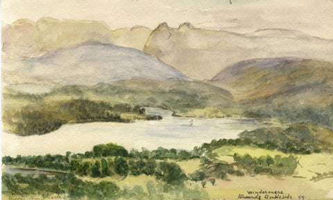 E.L. Colebrooke, Windermere Lake, Cumbria - Original 1899 watercolour painting