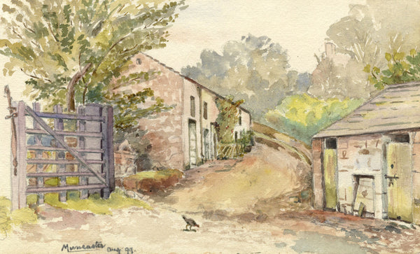 E.L. Colebrooke, Farm Buildings, Muncaster - Original 1899 watercolour painting