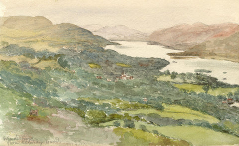 E.L. Colebrooke, Elleray Wood, Windermere - Original 1899 watercolour painting