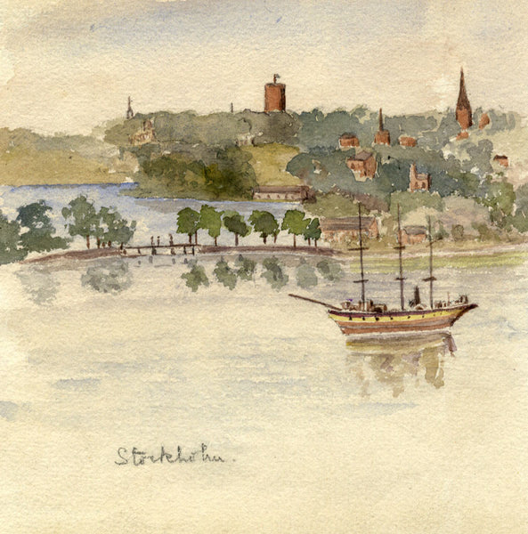 A.M. Colebrooke, Stockholm from the Water, Sweden - 1900 watercolour painting