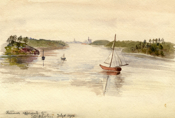 A.M. Colebrooke, Steamer Approach to Stockholm, Sweden 1900 watercolour painting