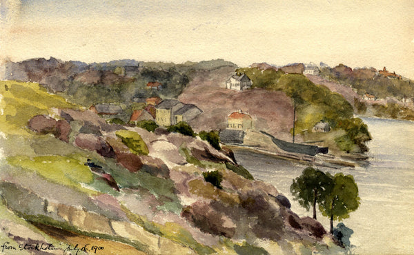 A.M. Colebrooke, Stockholm Coastline, Sweden -Original 1900 watercolour painting