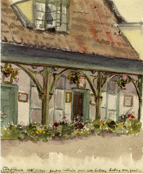 A.M. Colebrooke Hotel Victoria Christiania Oslo Norway 1900 watercolour painting