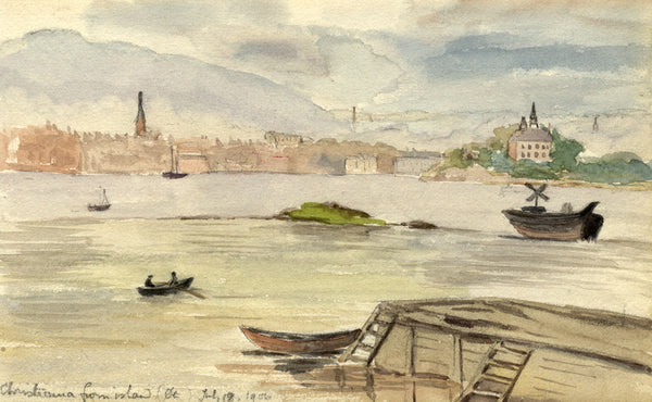 A.M. Colebrooke, Christiania Oslo from Island, Norway -1900 watercolour painting