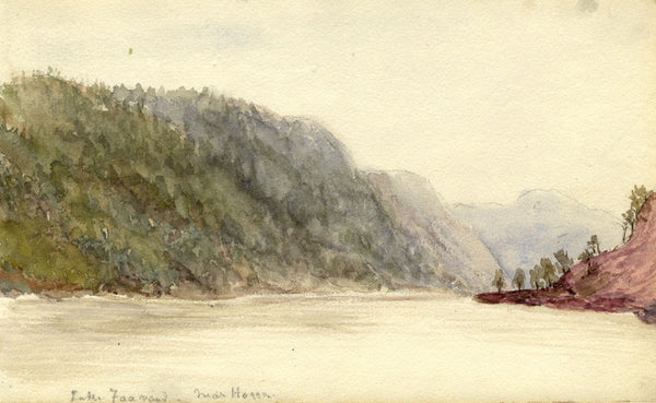 A.M. Colebrooke, Lake View, Norway - Original 1900 watercolour painting