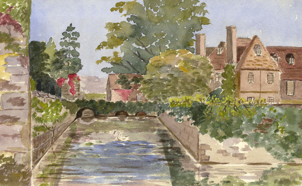 A.M. Colebrooke, Palace View with Swan - Original 1900 watercolour painting