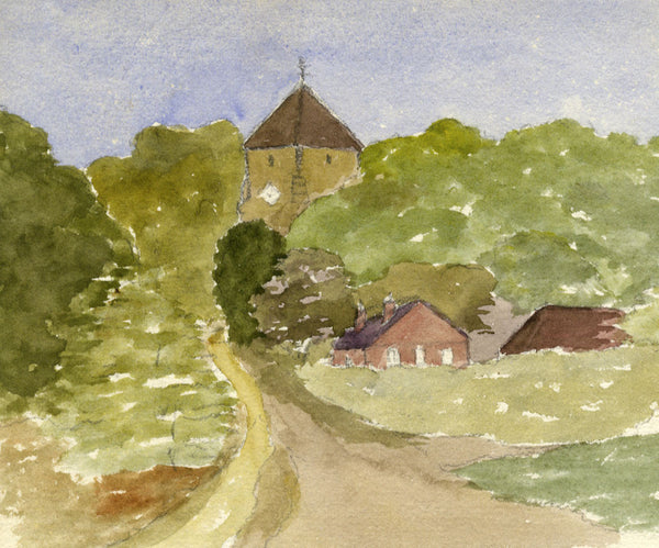 A.M. Colebrooke, Rural Church View - Original 1900 watercolour painting
