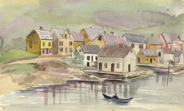 A.M. Colebrooke, Lakeside Village, Norway - Original 1900 watercolour painting