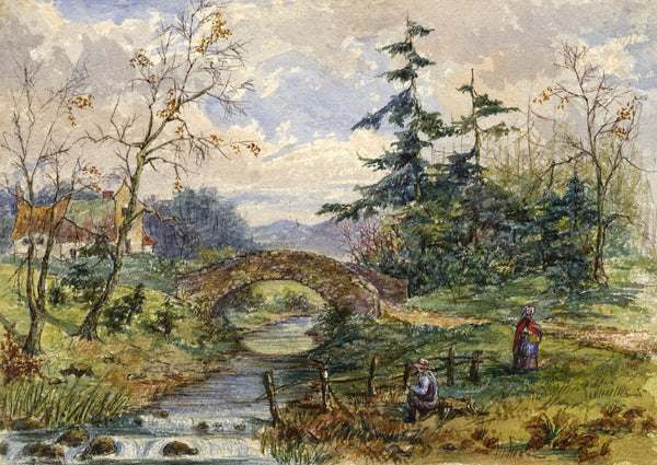"C.M. Cholmeley, Longfellow's ""Brooklet"" - 1873 watercolour painting"