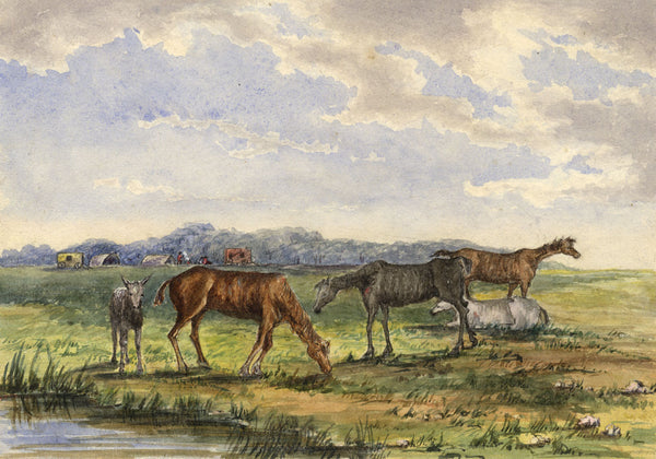 C.M. Cholmeley, Horses Grazing on the Common - 1872 watercolour painting