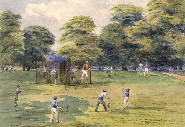 C.M. Cholmeley, English Cricket Club Scene - 1873 watercolour painting