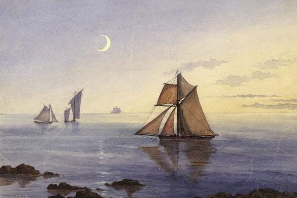 C.M. Cholmeley, Sailing Boats on Moonlit Calm Waters - 1873 watercolour painting