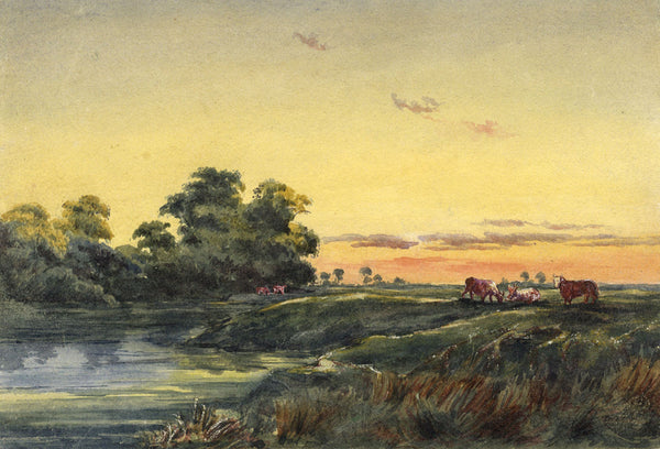 C.M. Cholmeley, River Landscape with Cows at Sunset - 1873 watercolour painting