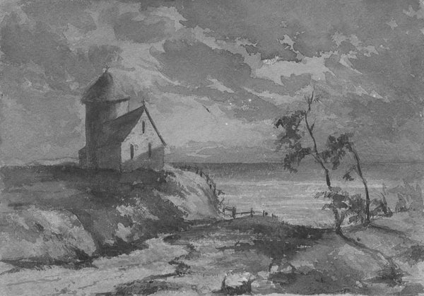 C.M. Cholmeley, Coastal Chapel by Moonlight - 1874 watercolour painting