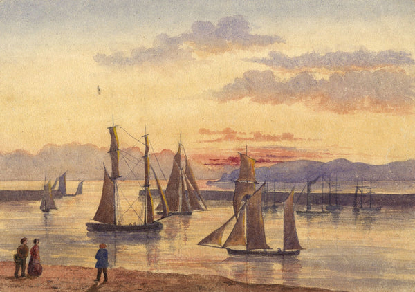 C.M. Cholmeley, Sailing Boats in Harbour - 19th-century watercolour painting