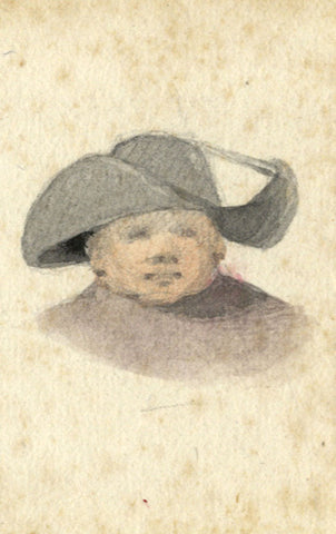 David Mocatta, Man in Wide-brimmed Hat - Original early 19th-century watercolour
