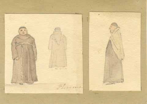 David Mocatta, Fat Friar, Friar with Skullcap - early 19th-century watercolour