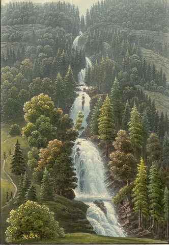 Giessbach Falls, Switzerland - Original early 19th-century aquatint print
