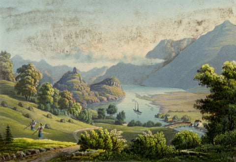 Goldswyl on Lake Brienz, Switzerland - Original early 19th-century aquatint print