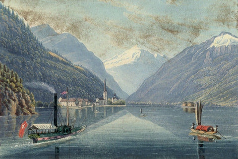 Fluelen towards the Bristenstock, Switzerland -Early 19th-century aquatint print