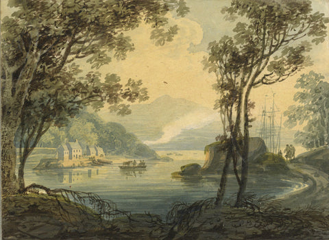 William Payne, Estuary Landscape - Early 19th-century watercolour painting