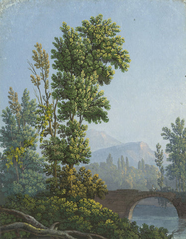 Landscape with Bridge - Early 19th-century Neapolitan School gouache painting