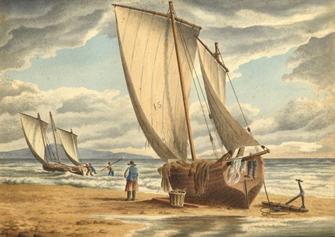 Fishermen Preparing their Sailboats - Early 19th-century watercolour painting