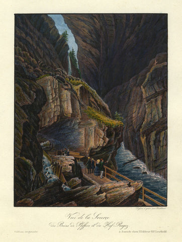 Burkhard, Thermal Baths at Pfeffers & Hof-Ragaz - Early 19th-century aquatint
