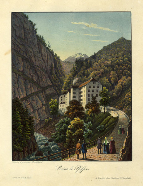 Burkhard, Thermal Baths of Pfeffers, Switzerland - Early 19th-century aquatint