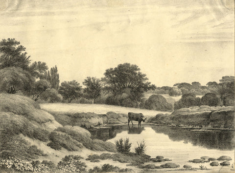 S.D.K., River Landscape with Cow Drinking - Early 19th-century lithograph print