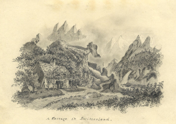 Mountain Chalet Cottage, Switzerland - Early 19th-century graphite drawing