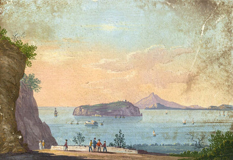 Isle of Nisida, Gulf of Naples - Early 19th-century gouache painting on kid skin