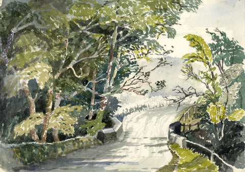 Patrick Faulkner, The Bridge Approach - Mid-20th-century watercolour painting