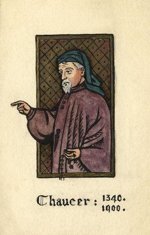Winifred Sandys, Geoffrey Chaucer - Early 20th-century watercolour painting