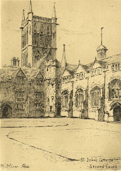 M. Oliver Rae, St John's College Cambridge - Original early 20th-century etching