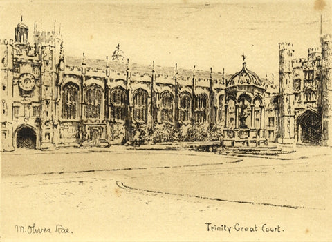 M. Oliver Rae, Trinity College Cambridge - Original early 20th-century etching
