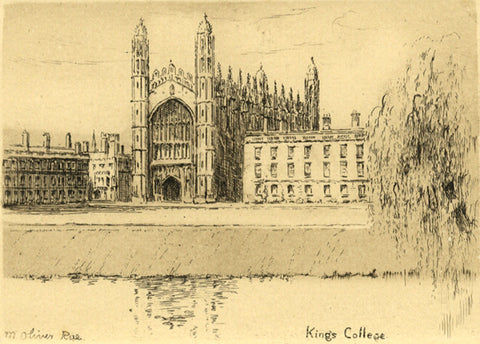 M. Oliver Rae, King's College Cambridge - Original early 20th-century etching