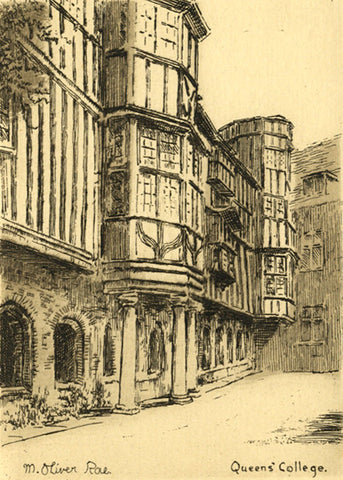 M. Oliver Rae, Queens' College Cambridge - Original early 20th-century etching