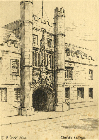 M. Oliver Rae, Christ's College, Cambridge - Original early 20th-century etching