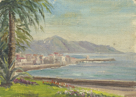 E.P. Corin, View of Nice, Côte d'Azur, France - Early 20th-century oil painting