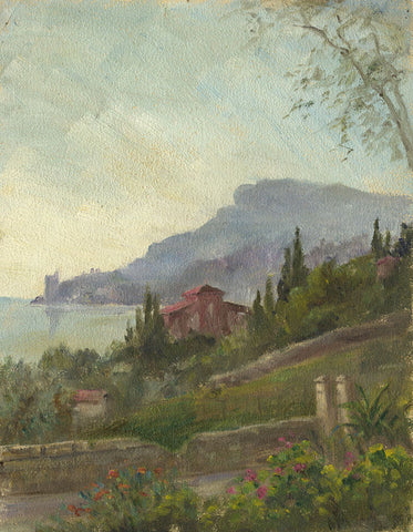 E.P. Corin, Italian Coastal View with Flowers - Early 20th-century oil painting